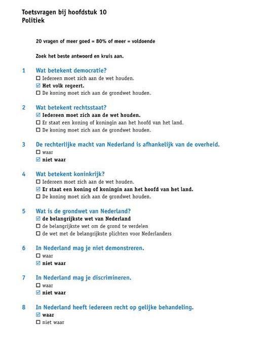 الجزء الثالث : اسئلة تدريب علي نموذج امتحان KNM في اللغة الهولندية