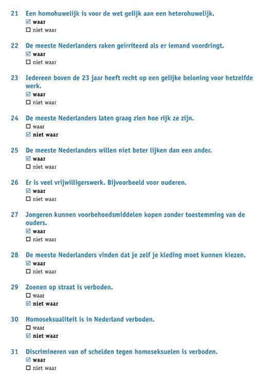 الجزء الرابع : اسئلة تدريب علي نموذج امتحان KNM في اللغة الهولندية